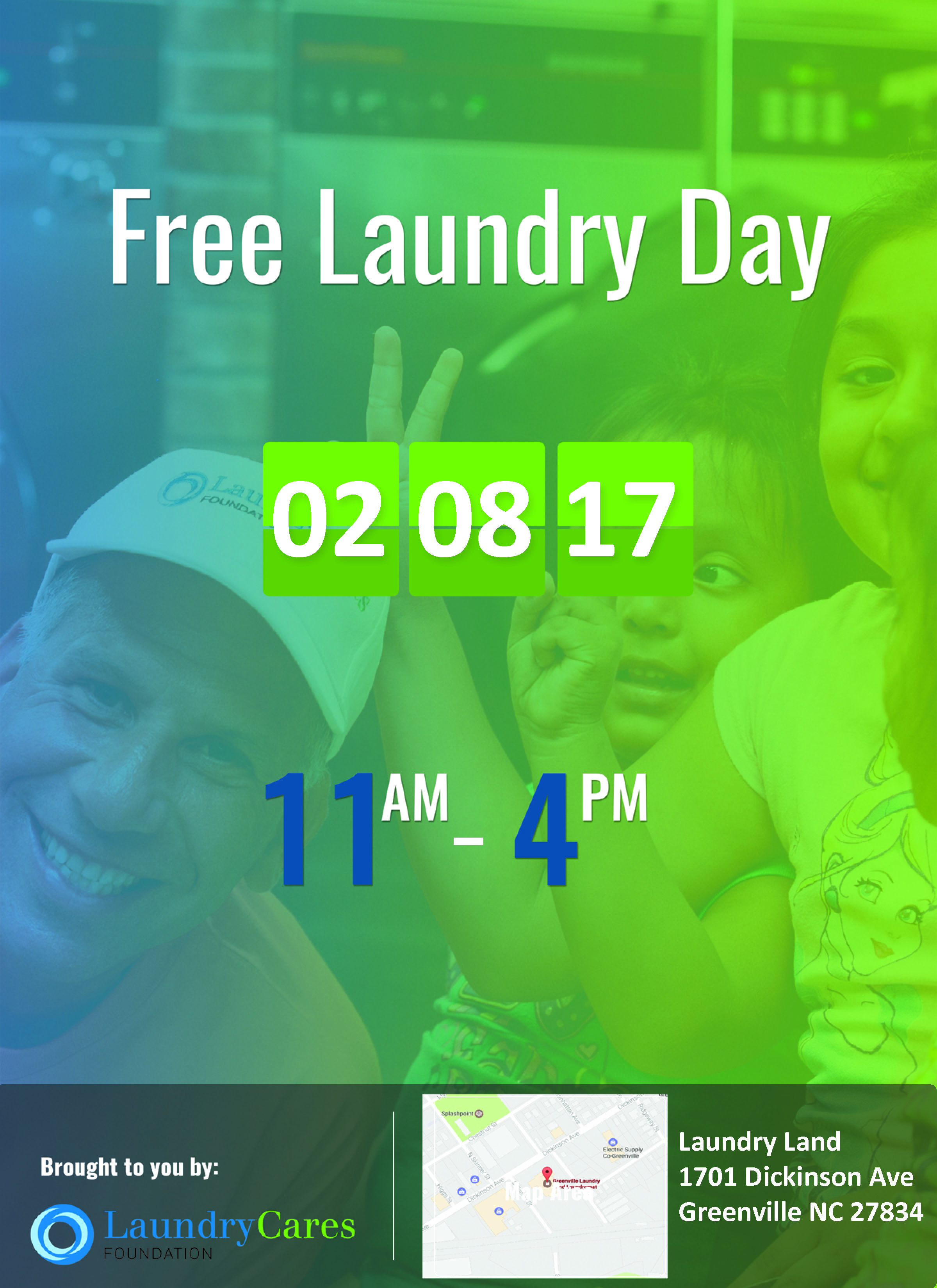 Free laundry day february 8 2017 eastern funding for Free land 2017
