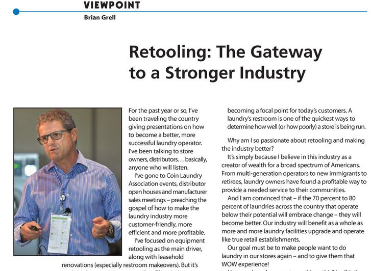 Re-tooling will lead to a stronger laundry industry: Article by Brian Grell in Planet Laundry Magazine