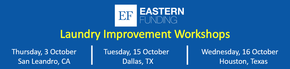 Banner of the Laundry Improvement Workshops. Thursday, 3 October in San Leandro, CA, Tuesday, 15 October in Dallas, TX, and Wednesday, 16 October in Houston, TX.