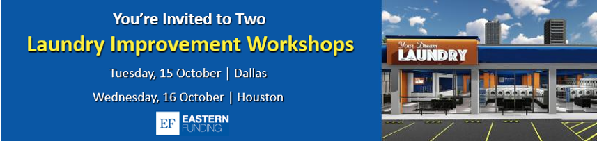 Texas Laundry Improvement Workshop header. You're Invited to our Texas Laundry Improvement Workshops in Dallas on October 15, 2019 or in Houston on October 16, 2019.